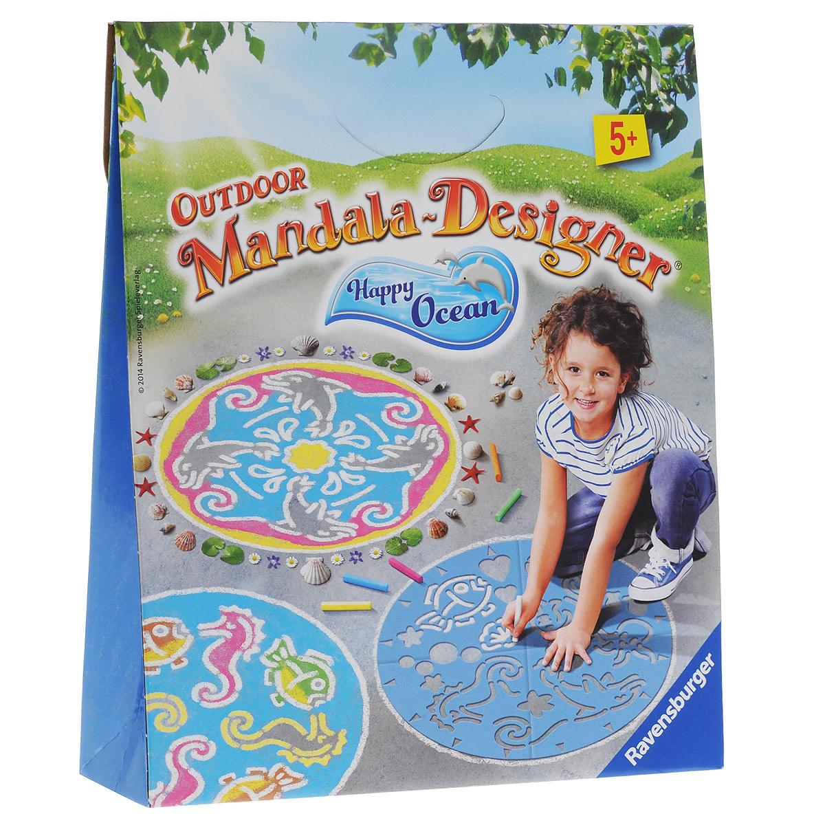 """С помощью набора для творчества Ravensburger """"Мандала для улицы: Подводный мир"""" ваш малыш легко нарисует круглые картины с изображением различных обитателей подводного мира: рыбок, дельфинов, осьминогов, морских коньков. Теперь ребенок сможет заниматься творчеством на свежем воздухе! Достаточно положить трафарет на поверхность, расставить отметки по указанным на шаблоне стрелочкам для создания симметрии рисунка и вращать мандалу, обводя контуры желаемых фигур. Создавая картину, юные дизайнеры учатся творчески мыслить, развивают воображение и художественные навыки. В набор входят шаблон, 6 мелков синего, розового, желтого, зеленого, коричневого и белого цветов, а также иллюстрированная брошюра с возможными вариантами мандалы. Порадуйте своего ребенка таким замечательным подарком! Мандалы - круглые картины с различными равномерно расположенными орнаментами. Отсюда и происходит название """"мандала"""" - круг. Рисование и расписывание мандалы происходит из Восточной..."""