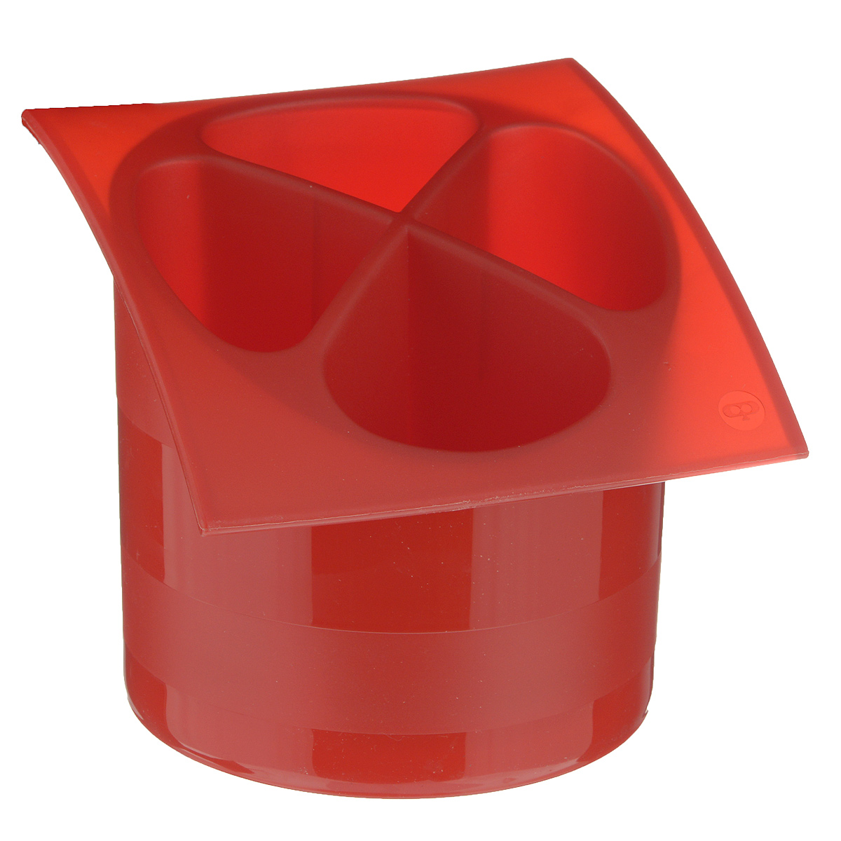 Подставка для столовых приборов Cosmoplast, цвет: красный, диаметр 14 см4630003364517Подставка для столовых приборов Cosmoplast, выполненная из высококачественного пластика, станет полезным приобретением для вашей кухни. Подставка имеет четыре отделения для разных видов столовых приборов. Дно отделений оснащено отверстиями. Подставка вставляется в емкость, предназначенную для стекания воды.Подставка Cosmoplast удобна в использовании и имеет яркий современный дизайн, который станет ярким акцентом в интерьере вашей кухни. Можно мыть в посудомоечной машине. Диаметр основания: 13,5 см. Размер подставки: 15,5 см х 16,5 см х 14,5 см.