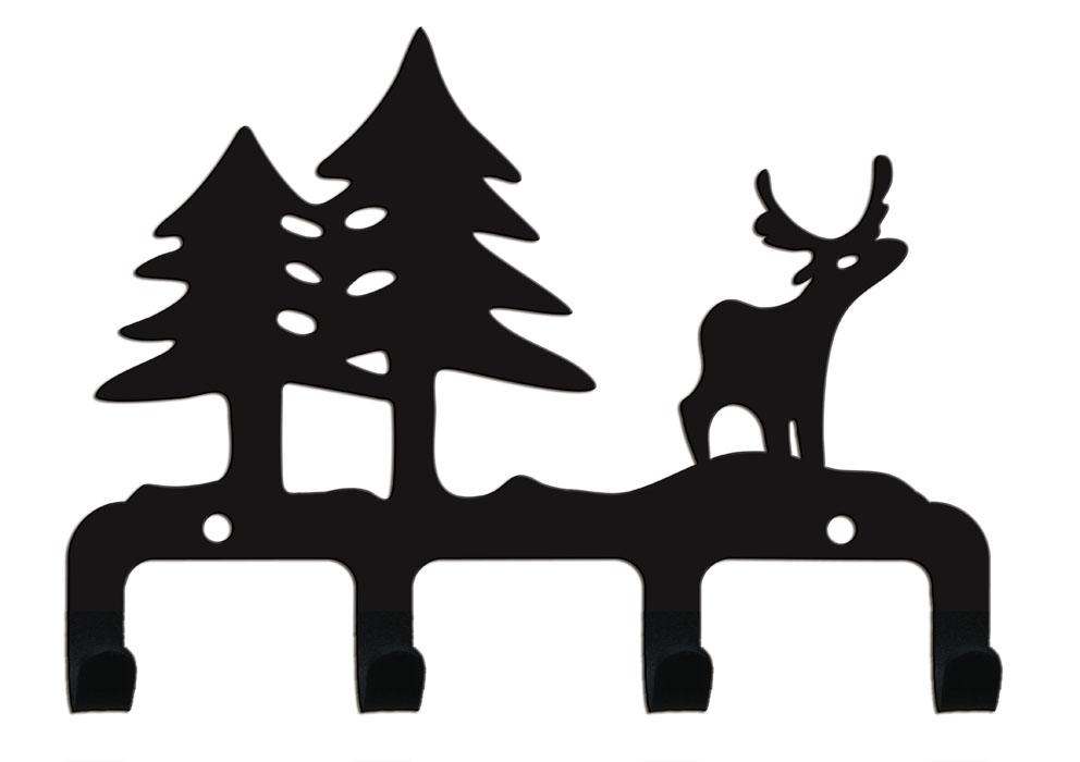 Крючок четырехрожковый Duck & Dog Лес, 16 х 11,5 смМ 2880Четырехрожковый крючок Duck & Dog Лес изготовлен из стали и покрыт специальной порошковой краской черного цвета, что гарантирует долговечность срока службы. Декоративная часть крючка выполнена в виде оленя и двух елок. Крепится к стене с помощью двух винтов-саморезов (входят в комплект). Крючок Duck & Dog - это не только удобная и функциональная деталь вашего интерьера, но и удивительно забавная и оригинальная вещичка. Размер крючка: 16 см х 11,5 см.