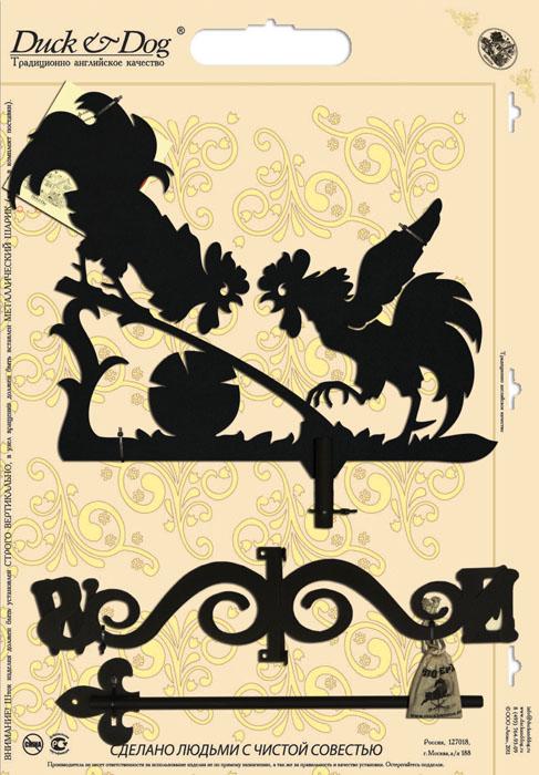 Флюгер Duck & Dog Два петуха, 50 см х 95 смKOC_SOL366Флюгер Duck & Dog Два петуха изготовлен из сплавов прочных металлов и покрыт специальной порошковой краской, что гарантирует долговечность срока службы. Флюгер поворачивается под воздействием ветра, а также указывает его направление. Такой метеоприбор отличается заметным изяществом. Флюгера - это украшение дома, некий элемент декора. Также их помещают на любые загородные сооружения, бани, беседки и т.д В комплекте крепежные элементы.Размер фигурной части: 38 см х 50 см.