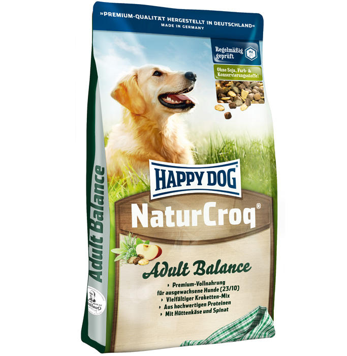 Корм сухой Happy Dog Natur Croq Balance для активных взрослых собак, 15 кг12147059Сухой корм Happy Dog Natur Croq Balance - полнорационный сбалансированный корм для взрослых собак с нормальными и слегка повышенными потребностями в энергии. - Легкоусвояемая смесь разных гранул - вкусное удовольствие! - Домашний сыр и экстракт дрожжей положительно влияют на пищеварение и функции кишечника. Поэтому сухой корм Natur Croq Balance подходит чувствительным собакам. - Вследствие слегка повышенного содержания энергии Natur Croq Balance отлично подходит активным собакам, занимающимся аджилити, спортом и подвижными играми. Состав: птица, цельнозерновая пшеница, пшеничная мука, цельнозерновая кукуруза, кукурузная мука, рисовая мука, овсяная мука, цельнозерновой ячмень, мясная мука, рыба, птичий жир, говяжий жир, свекольная пульпа, гидролизат печени, яблочная пульпа (0,8%), хлорид натрия, домашний сыр (0,3%), морковь (0,1%), дрожжи (экстракт, 0,1%), шпинат (0,08%), люцерна (0,08%). Аналитические составляющие: сырой протеин 23%, сырой жир 10%, сырая клетчатка 3%, сырая зола 7,5%, углеводы 46,5%, кальций 1,4%, фосфор 0,9%, натрий 0,35%, магний 0,15%. Добавки (на 1 кг): витамин А 12000 МЕ; витамин D3 1200 МЕ; витамин Е 60 мг; витамин В1 3 мг; витамин В2 3 мг; витамин В6 2,5 мг; витамин В12 45 мкг; биотин 250 мкг; пантотеновая кислота 7,5 мг; ниацин 30 мг; фолиевая кислота 2 мг; железо 80 мг; медь 8 мг; цинк 80 мг; марганец 5 мг; йод 2 мг; селен 0,15 мг. Товар сертифицирован.