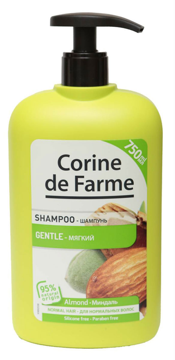 Corine De Farme Мягкий шампунь с миндалем, 750 млFS-00897Мягкий Шампунь с Миндалем питает волосы и делает их здоровыми и блестящими. Обогащен экстрактом миндаля и медом. (экстракт миндаля содержит витамин С, витамины В1 и В2 и провитамин А. Мед содержит аминокислоты минералы и увлажняющие компоненты)