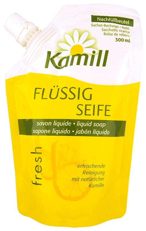 Kamill Мыло жидкое для рук Fresh, сменный блок, 300 млMP59.4DОсвежающее жидкое мыло для рук с ароматом цитрусового молочка и экстрактом ромашки успокаивает кожу и поддерживает ее естественную регенерацию.Благодаря аромату лимонного молочка, оставляет ощущение свежести после использования. Концентрированная формула обеспечивает очень экономичный расход мыла.Жидкое мыло Kamill pH-нейтрально, проверено дерматологически. Товар сертифицирован.