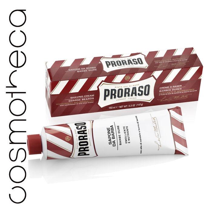 Proraso Крем для бритья питательный 150 мл401952Формула на основе растительного стеарина обогащенная маслом ши и сандала, восстанавливает сухую кожу и размягчает даже самую жесткую щетину. Подходит для сухой кожи и жесткой щетины.