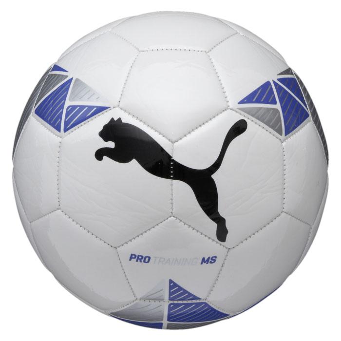 Мяч футбольный Puma  Pro Training MS ball , цвет: белый, синий. Размер 5 - Футбол