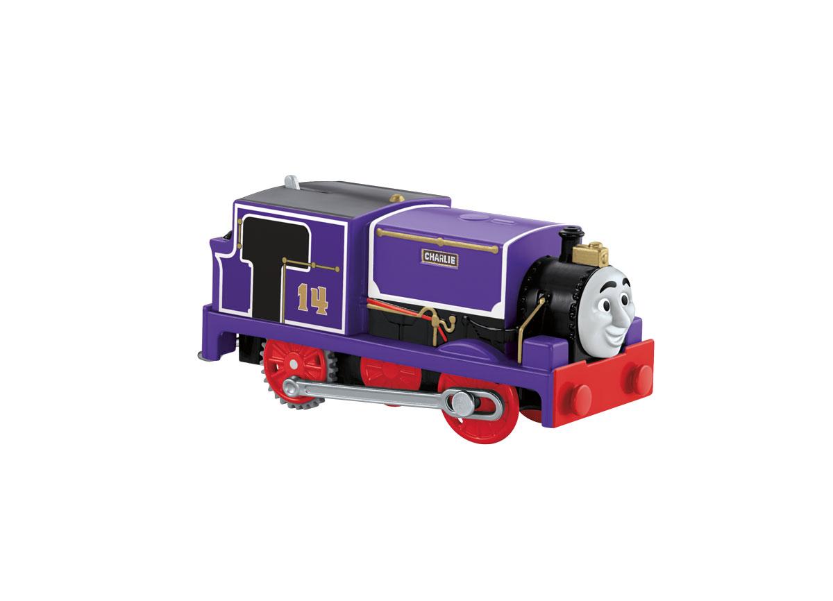 """Паровозик Thomas & Friends """"Чарли"""" привлечет внимание вашего малыша и не позволит ему скучать. Он выполнен из прочного пластика с элементами металла в виде героя популярного мультсериала """"Томас и его друзья"""". Чарли - маленький игривый фиолетовый танк-паровоз, прибывший с материка. Его номер 14, но несмотря на свой размер, он всегда готов к приключениям. Больше всего Чарли любит веселье. Порадуйте своего непоседу такой замечательной игрушкой! Необходимо купить 2 батарейки типа ААА (не входят в комплект)."""