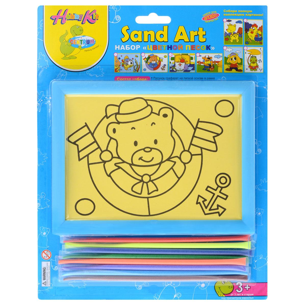 """Набор для создания картины из цветного песка Centrum """"Медведь"""" обязательно порадует вашего малыша. С его помощью ребенок сможет своими руками создать необычную картину из цветного песка с изображением веселого мишки-морячка. В набор уже входит все необходимое для творчества: картинка-трафарет в пластиковой рамке и кварцевый песок 8 цветов (красный, желтый, синий, зеленый, оранжевый, фиолетовый, голубой, коричневый). Создать картину из цветного песка совсем несложно - на основу уже нанесен контур рисунка. Постепенно снимайте защитный слой с трафареты и засыпайте цветной песок нужного цвета на клейкую поверхность. Затем подождите, пока песок высохнет - и объемная картина из цветного песка готова! Готовую картину можно оформить входящей в комплект рамкой. Простой и увлекательный процесс создания картины подарит вашему малышу массу удовольствия, и поможет развить мелкую моторику рук, аккуратность, творческое мышление и художественный вкус. Готовая картина из цветного..."""
