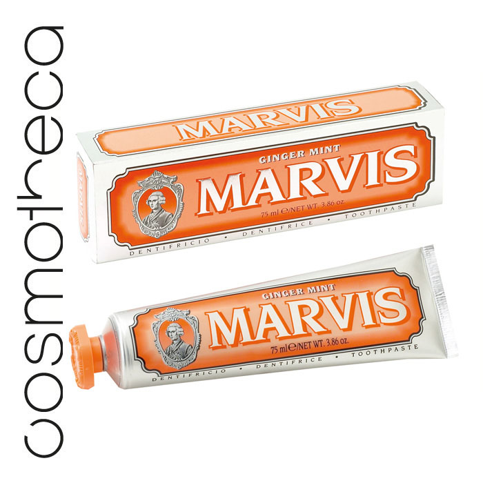 Marvis Зубная паста Мята и Имбирь 75 млMP59.4DЗубная паста Мята и Имбирь  подарит Вам крепкие зубы, здоровые десны, свежее дыхание и отличное настроение на весь день. Фтор способствует укреплению зубной эмали, подавляя образование кислот бактериями зубного налета. Мягкие абразивные вещества нежно удаляют налет с зубов, не царапая эмаль, а мягко полируя ее.