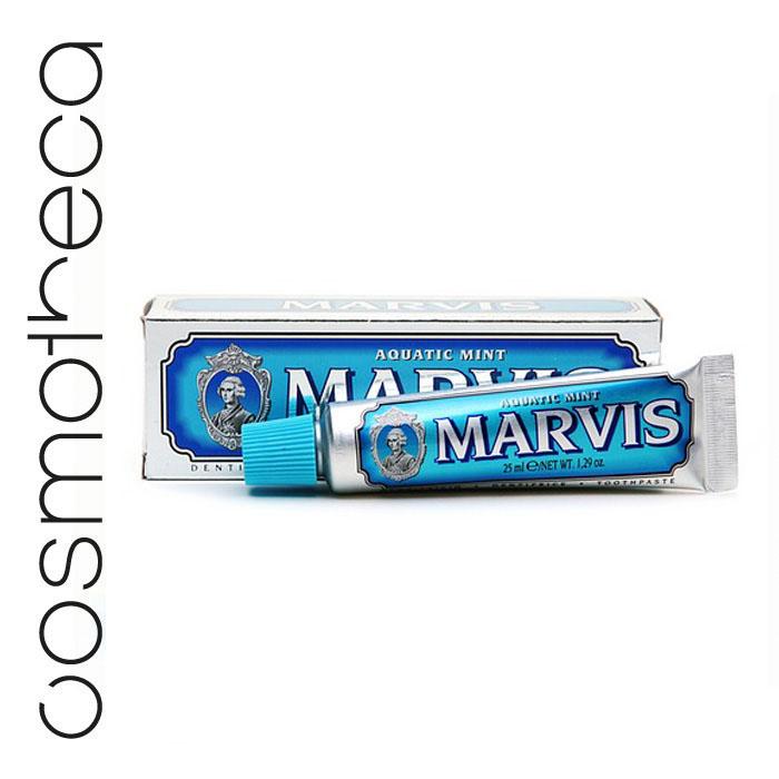 Marvis Зубная паста Cвежая Мята 25 млFMS-101Зубная паста Cвежая Мята с деликатным мятным вкусом освежает дыхание в течение всего дня, предотвращая разрушение зубов, удаляет камень и зубной налет, мягко полируя зубы, не повреждая эмаль.