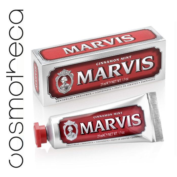 Marvis Зубная паста Мята и Корица 25 мл4630003365187Зубная паста Мята и Корица -это вкус экзотической сладости корицы и освежающей мяты. Предотвращая разрушение зубов, удаляет камень и зубной налет, мягко полируя зубы, не повреждая эмаль.