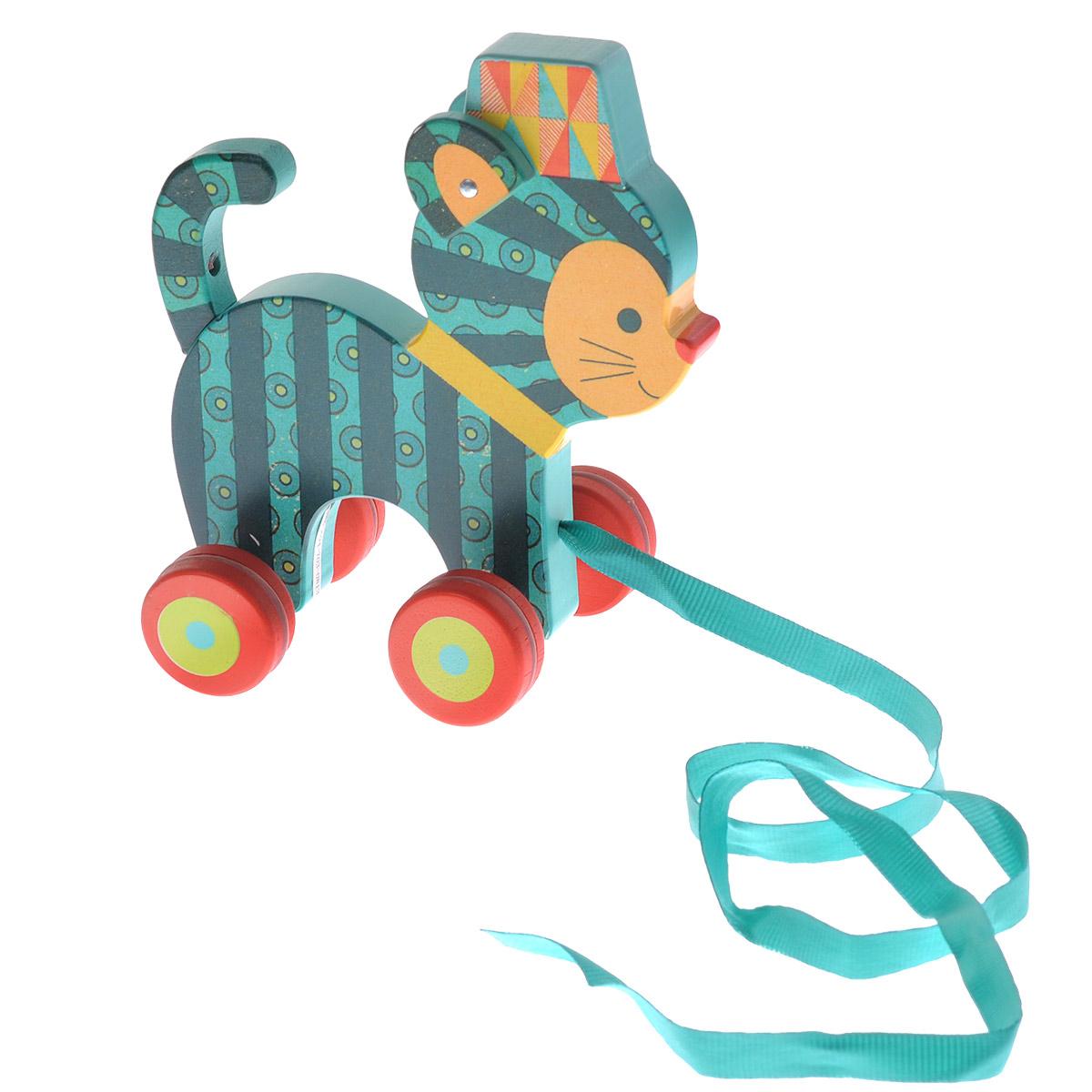 Djeco Деревянная игрушка-каталка Кот Ину купить акиту ину от японских родителей