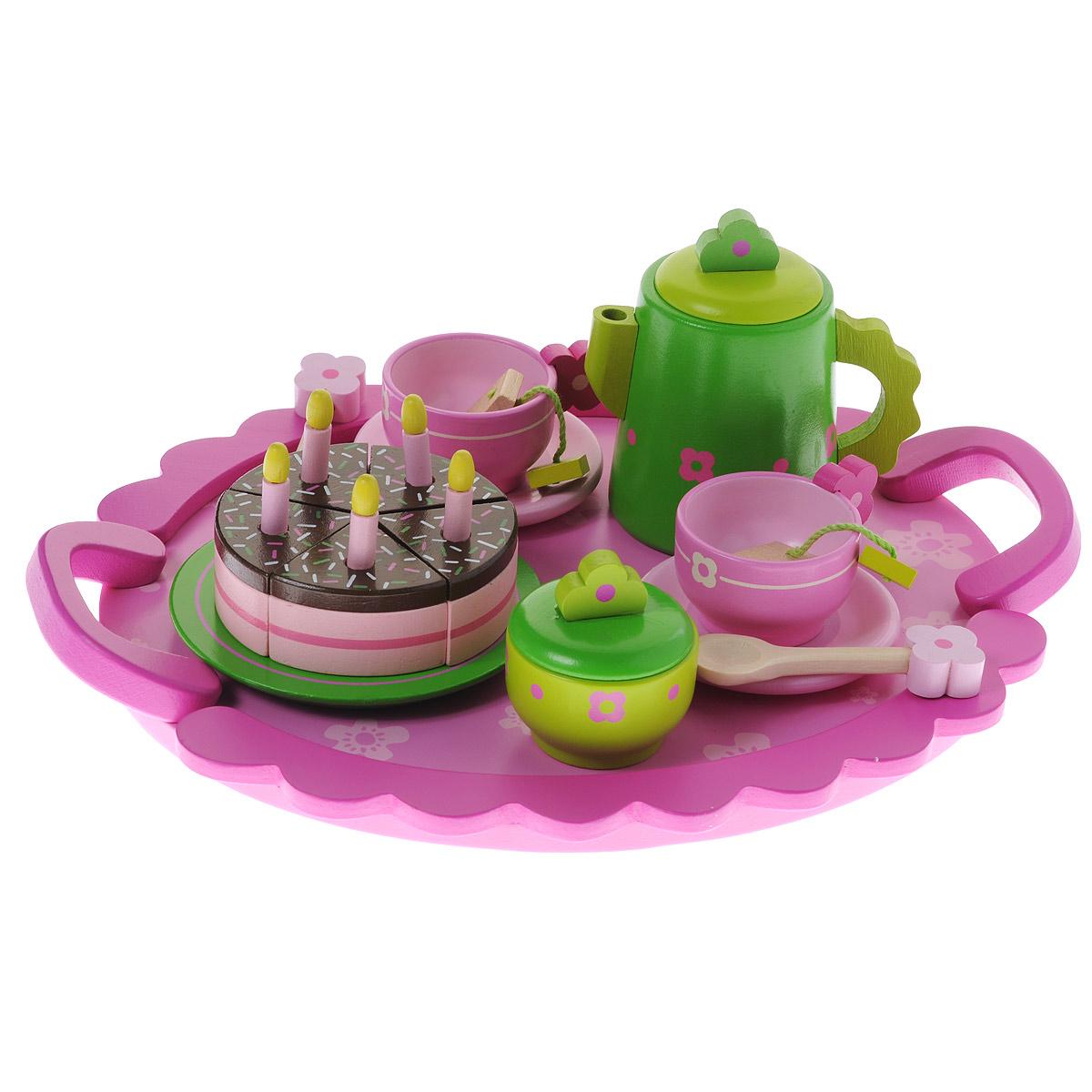 """Игровой набор Djeco """"День рождения"""" привлечет внимание любой девочки. Набор включает в себя все необходимое для веселого игрового чаепития: чайник, 2 чашки, 2 блюдца, сахарница, 3 пакетика чая, 5 свечек, 5 кусочков торта, тарелка и поднос. Все элементы набора выполнены из дерева и окрашены нетоксичными красками в нежные пастельные цвета. Все предметы в наборе имеют удобные для детских ручек размеры. Крышки на чайничке и сахарнице снимаются. Ваша малышка сможет часами играть с этим замечательным набором, выдумывая различные истории и разыгрывая сказочное чаепитие. Такие игры развивают мелкую моторику, социальные навыки и воображение, а также помогут ребенку познакомиться с различными цветами и формами. Порадуйте свою малышку таким замечательным подарком!"""