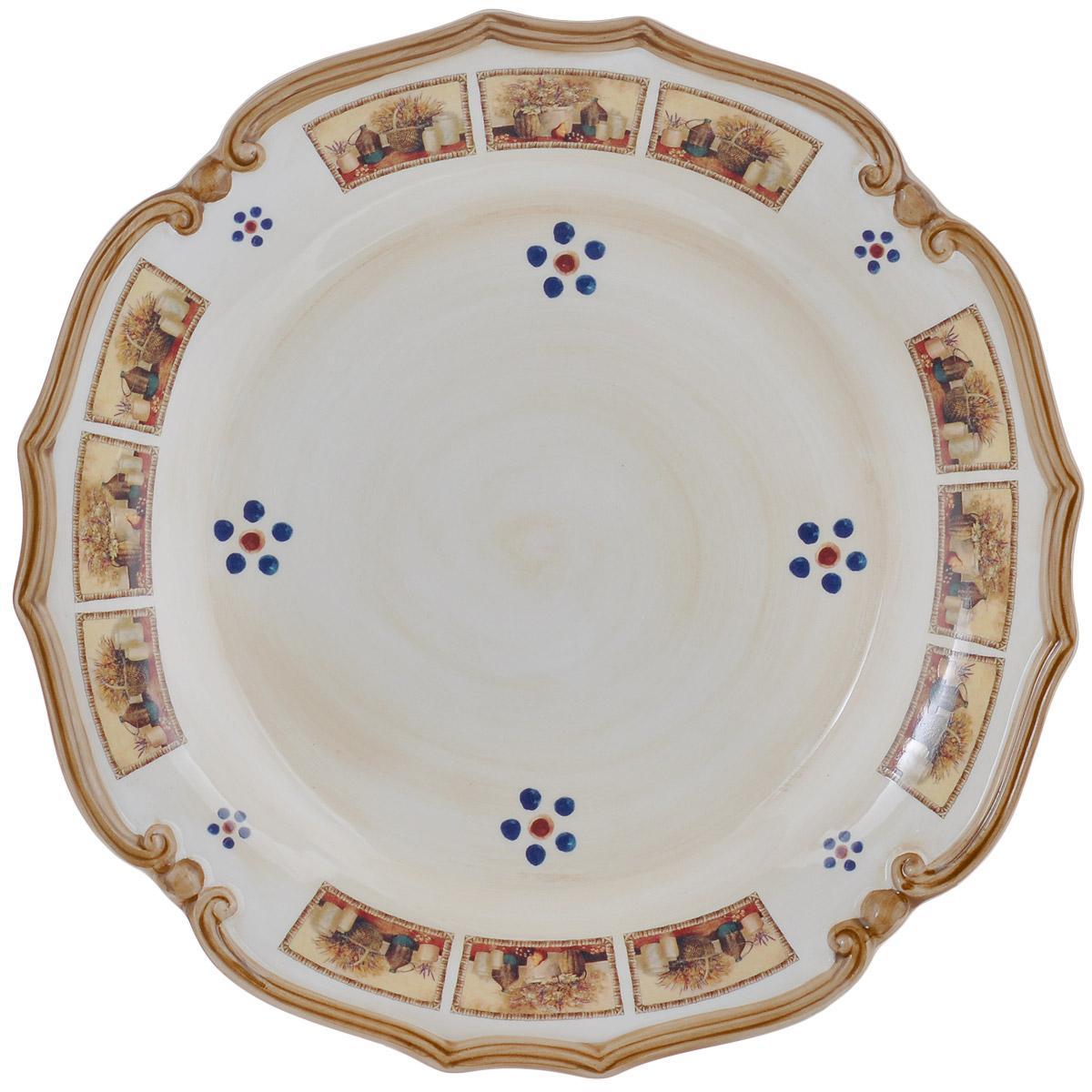 Блюдо LCS Натюрморт, цвет: бежевый, коричневый, диаметр 37 смVT-1520(SR)Круглое блюдо LCS Натюрморт, изготовленное из керамики, станет достойным украшением вашего стола. Блюдо с рельефными краями оформлены изображением картин с натюрмортами.Изящный дизайн и красочность оформления придутся по вкусу и ценителям классики, и тем, кто предпочитает утонченность и изысканность. Высокий стандарт изделий обеспечивается за счет соединения высоко технологичного производства и использования ручной работы профессиональных дизайнеров и художников, работающих на фабрике. Блюдо LCS Маковый луг украсит сервировку вашего стола и подчеркнет прекрасный вкус хозяина, а также станет отличным подарком. Диаметр блюда: 37 см.Высота стенки: 4,5 см.