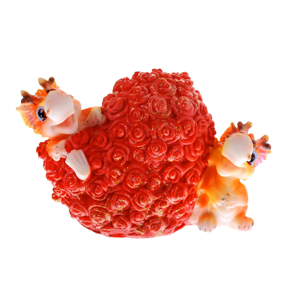 Копилка декоративная Lunten Ranta Дракон и миллион роз512-164Декоративная копилка Lunten Ranta Дракон и миллион роз, выполненная из полирезины, станет отличным украшением интерьера вашего дома или офиса. Копилка выполнена в виде двух забавных дракончиков и сердечка из роз. Имеется прорезь для монеток и отверстие на дне изделия, закрывающееся на резиновую пробку, для извлечения денег.Копилка - это оригинальный и нужный подарок на все случаи жизни. Также она может стать оригинальным подарком для всех любителей стильных вещей. Размер статуэтки: 12 см х 9 см х 7 см.