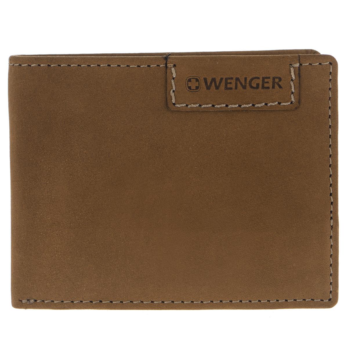 Портмоне мужское Wenger, цвет: коричневый. W11-09AQYHA03387-KRP0Стильное мужское портмоне Wenger изготовлено из натурального нубука и оформлено декоративной прострочкой, а также тиснениями в виде логотипа и названия бренда на лицевой стороне. Внутри - одно отделение для купюр, отсек для мелочи на замке-кнопке и один боковой карман. Перекидной блок, закрывающийся хлястиком на кнопку, содержит сетчатый карман и два боковых кармана.Портмоне упаковано в изысканную фирменную коробку.Модное портмоне Wenger не оставит равнодушным истинного ценителя прекрасного.По всем вопросам гарантийного и постгарантийного обслуживания рюкзаков, чемоданов, спортивных и кожаных сумок, а также портмоне марок Wenger и SwissGear вы можете обратиться в сервис-центр, расположенный по адресу: г. Москва, Саввинская набережная, д.3. Тел: (495) 788-39-96, (499) 248-56-56, ежедневно с 9:00 до 21:00. Подробные условия гарантийного обслуживания приведены в гарантийном талоне, поставляемым в комплекте с каждым изделием. Бесплатный ремонт изделий производится при условии предоставления гарантийного талона и товарного/кассового чека, подтверждающего дату покупки.