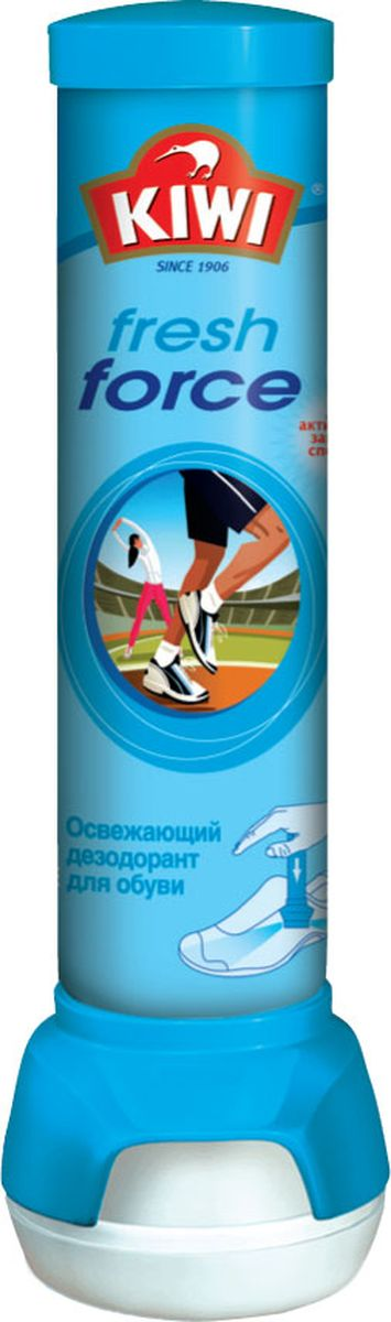 Спрей-дезодорант для обуви Kiwi Fresh Force, освежающий, 100 мл. 630217630217Спрей-дезодорант Kiwi Fresh Force предназначен для решения проблемы неприятного запаха обуви. Мгновенно нейтрализует неприятные запахи. Уникальный механизм нижнего двухстороннего распыления обеспечивает максимальное удобство применения. Интенсивный аромат. Подходит для спортивной обуви.