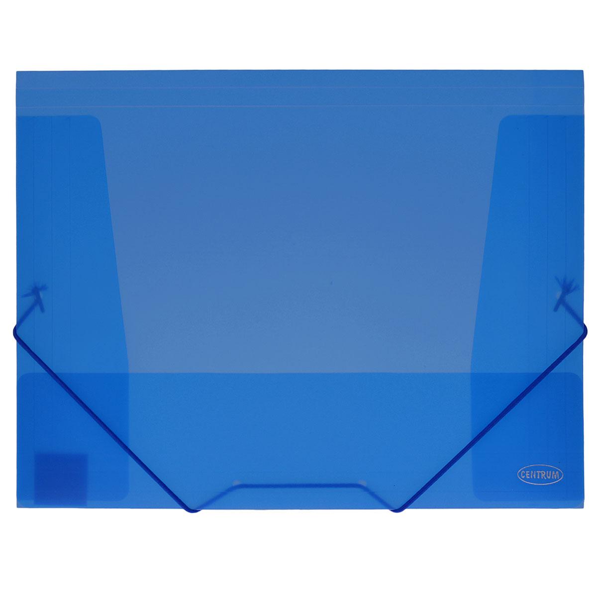 Папка-конверт на резинке Centrum, цвет: синий. Формат А4. 80016FS-54100Папка-конверт на резинке Centrum - это удобный и функциональный офисный инструмент, предназначенный для хранения итранспортировки рабочих бумаг и документов формата А4.Папка с двойной угловой фиксацией резиновой лентой изготовлена из износостойкого полупрозрачного пластика. Внутри папка имеет три клапана, что обеспечивает надежную фиксацию бумаг и документов.Папка - это незаменимый атрибут для студента, школьника, офисного работника. Такая папка надежно сохранит ваши документы исбережет их от повреждений, пыли и влаги.