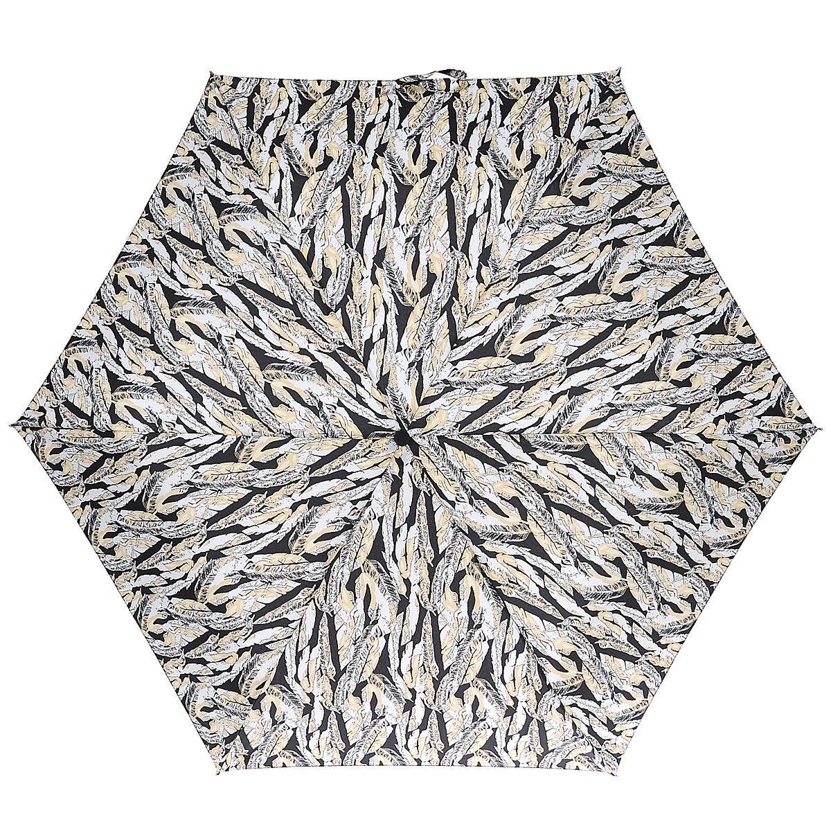 """Зонт женский Fulton Scattered Feather, механический, 3 сложения, цвет: черный, бежевый. L55345100032/35449/3537AСтильный зонт Fulton """"Scattered Feather"""" защитит от непогоды, а его компактный размер позволит вам всегда носить его с собой. """"Ветростойкий"""" алюминиевый каркас в 3 сложениясостоит из шести спиц с элементами из фибергласса, зонт оснащен удобной рукояткой из дерева.Купол зонта выполнен из прочного полиэстера и оформлен цветочным принтом в виде перьев. На рукоятке для удобства есть небольшой шнурок-резинка, позволяющий надеть зонт на руку тогда, когда это будет необходимо.К зонту прилагается чехол на липучке. Зонт механического сложения: купол открывается и закрывается вручную, стержень также складывается вручную до характерного щелчка.Характеристики: Материал: алюминий, фибергласс, пластик, полиэстер.Длина зонта в сложенном виде: 22,5 см.Длина ручки (стержня) в раскрытом виде:52 см."""