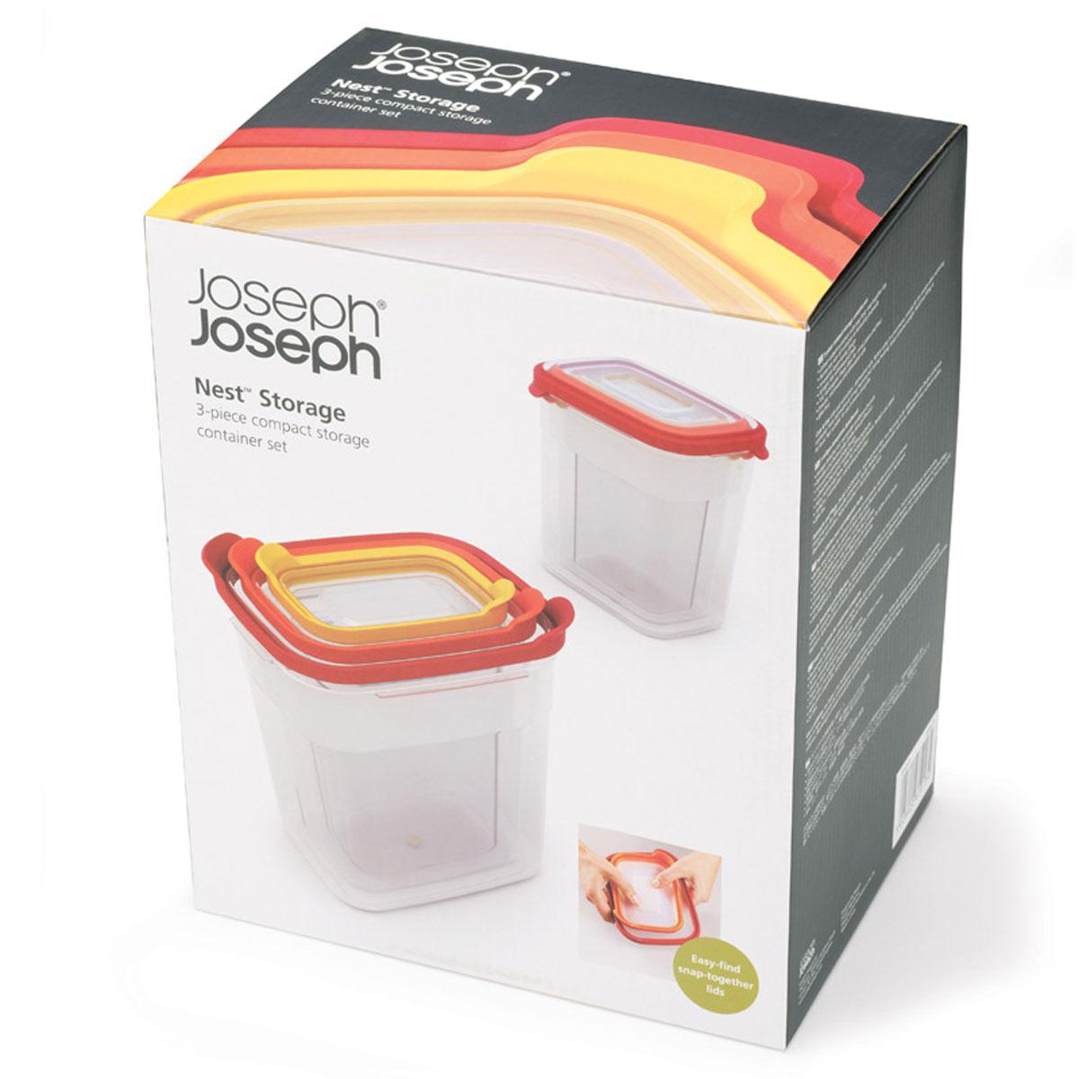 Набор контейнеров Joseph Joseph Nest для пищевых продуктов, 3 штFA-5125 WhiteНабор Joseph Joseph Nest из трех глубоких контейнеров привлекательного яркого дизайна предназначен специально для хранения пищевых продуктов. Контейнеры имеют прямоугольную форму и разные размеры. Крышки, изготовленные из силикона, легко открываются и плотно закрываются. Контейнеры устойчивы к воздействию масел и жиров, легко моются. Прозрачные стенки позволяют видеть содержимое контейнеров. Подходят для использования в микроволновых печах. Размер контейнеров (по верхнему краю): 17 см х 13 см; 15 см х 10 см; 12,5 см х 8 см.Высота контейнеров (без учета крышек): 18,5 см, 17,5 см; 16 см.