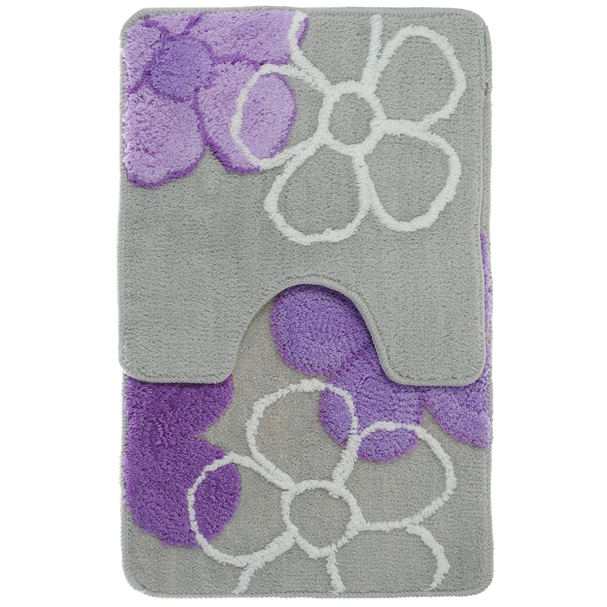 Комплект ковриков для ванной Fresh Code, цвет: серый, фиолетовый, 2 предмета391602Комплект Fresh Code состоит из коврика для ванной комнаты и туалета. Коврики изготовлены из акрила и оформлены цветочным изображением. Это экологически чистый, быстросохнущий, мягкий и износостойкий материал. Красители устойчивы, поэтому коврики не потускнеют даже после многократных стирок в стиральной машине. Благодаря латексной основе коврики не скользят на полу. Края изделий обработаны оверлоком. Можно использовать на полу с подогревом. Набор для ванной Fresh Code подарит ощущение тепла и комфорта, а также привнесет уют в вашу ванную комнату. Высота ворса: 1 см. Размер коврика для ванной комнаты: 80 см х 50 см. Размер коврика для туалета: 50 см х 50 см.