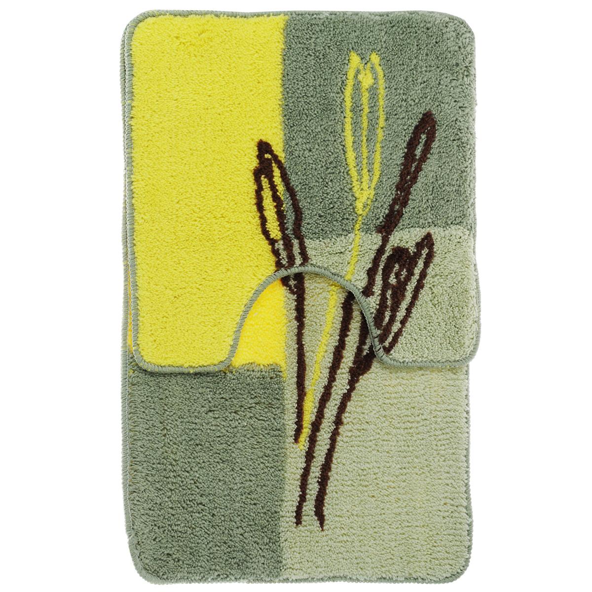 Комплект ковриков для ванной Fresh Code, цвет: зеленый, желтый, 2 предмета391602Комплект Fresh Code состоит из коврика для ванной комнаты и туалета. Коврики изготовлены из акрила. Это экологически чистый, быстросохнущий, мягкий и износостойкий материал. Красители устойчивы, поэтому коврики не потускнеют даже после многократных стирок в стиральной машине. Благодаря латексной основе коврики не скользят на полу. Края изделий обработаны оверлоком. Можно использовать на полу с подогревом. Набор для ванной Fresh Code подарит ощущение тепла и комфорта, а также привнесет уют в вашу ванную комнату. Высота ворса: 1 см. Размер коврика для ванной комнаты: 80 см х 50 см. Размер коврика для туалета: 50 см х 50 см.