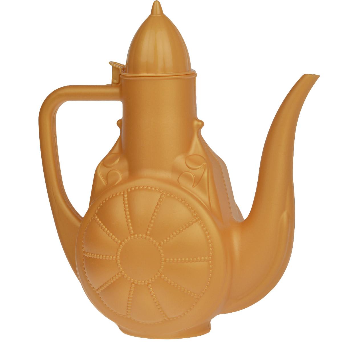 Кувшин Альтернатива Восточные сказки, цвет: оранжевый, 3 лVT-1520(SR)Кувшин Альтернатива Восточные сказки изготовлен из высококачественного непищевого пластика, оснащен носиком, откидной крышкой и имеет узкое горло. Такой кувшин - кумган - применяется в основном для умывания и мытья рук на исламском востоке, а также подмывания, исходя из традиции отправления естественных потребностей на исламском востоке.Кувшин можно также использовать в хозяйственных нуждах.