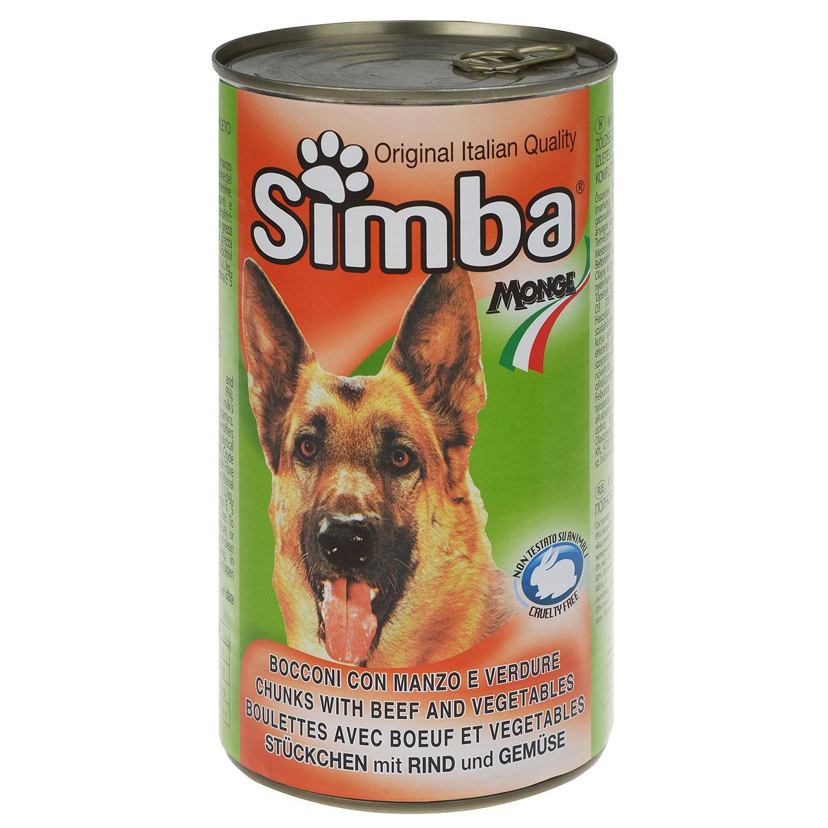 Консервы для собак Monge Simba, кусочки с говядиной и овощами, 1230 г12118695Консервы для собак Monge Simba - это полноценный сбалансированный корм для собак. Кусочки с говядиной и овощами в соусе. Состав: мясо и мясные субпродукты (говядина не менее 8%), овощи (не менее 4,2%), злаки, молочный протеин, яйца, минеральные вещества, витамины, загустители и желирующие вещества. Анализ компонентов: протеин 8%, жир 6%, клетчатка 1,21%, зола 3%, влажность 80%.Витамины и добавки на 1 кг: витамин А 2000 МЕ, витамин D3 200 МЕ, витамин Е 5 мг. Товар сертифицирован.