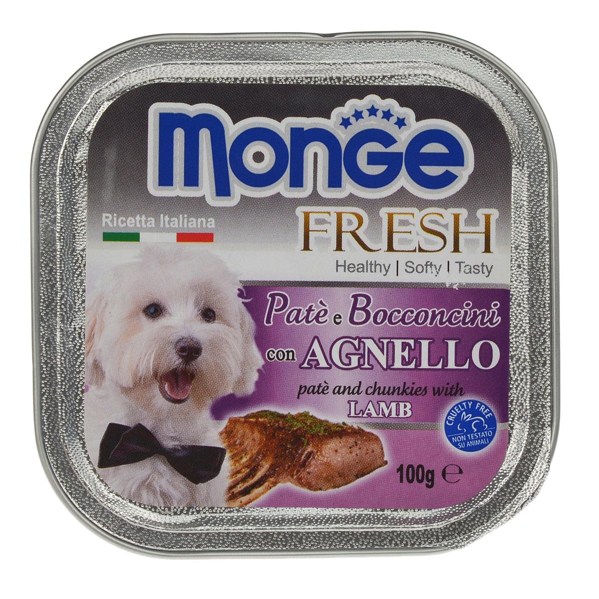 Консервы для собак Monge Fresh, с ягненком, 100 г0120710Консервы для собак Monge Fresh - полнорационный корм для собак. Паштет из мяса ягненка. Состав: свежее мясо 80% (содержание баранины мин. 10%), минеральные вещества, витамины. Технологические добавки: загустители и желирующие вещества. Анализ компонентов: белок 9%, жир 7%, сырая клетчатка 0,5%, сырая зола 1,2%, влажность 82%. Витамины и добавки на 1 кг: витамин А 3000МЕ, витамин D3 400 МЕ, витамин Е 15 мг. Товар сертифицирован.