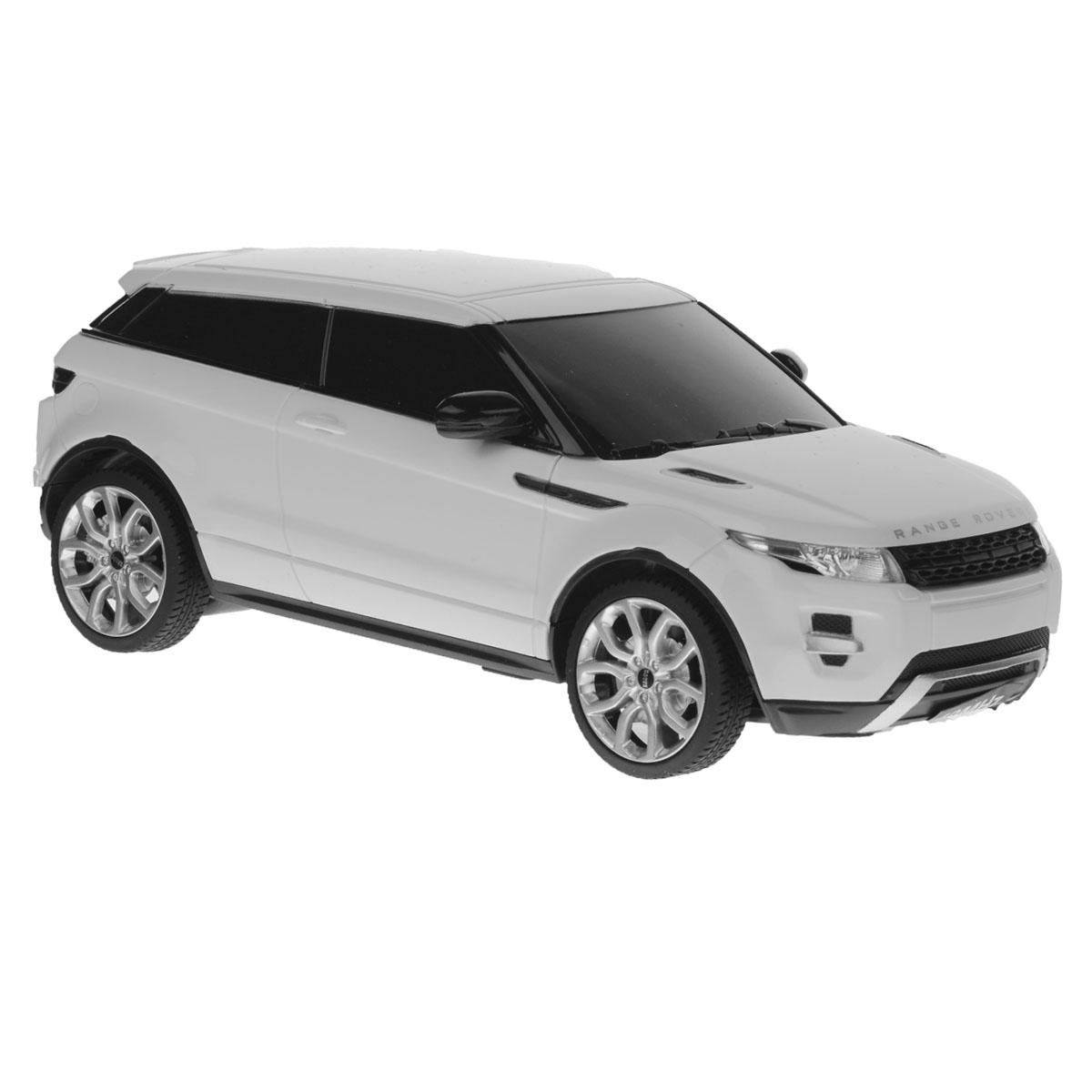 """Радиоуправляемая модель Rastar """"Range Rover Evoque"""" со световыми эффектами, являющаяся точной копией настоящего автомобиля, - отличный подарок не только ребенку, но и взрослому. Это точная копия настоящего автомобиля, которая изготовлена из прочных материалов, шины выполнены из мягкой резины. При движении у машины горят передние и задние фары. Она может перемещаться вперед, дает задний ход, поворачивает влево и вправо, останавливается. Ребенок часами будет играть с моделью, придумывая различные истории и устраивая соревнования. Для работы машинки требуются 3 батареи типа AА (не входят в комплект). Для работы пульта управления требуются 2 батареи типа АА (не входят в комплект). Частота: 27 МГц."""