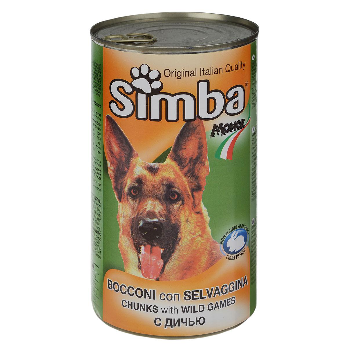 Консервы для собак Monge Simba, кусочки с дичью, 1230 г0120710Консервы для собак Monge Simba - это полноценный сбалансированный корм для собак. Кусочки с дичью в соусе. Состав: мясо и мясные субпродукты (мясо дичи не менее 6%), злаки, минеральные вещества, витамины, натуральные красители и вкусовые добавки. Анализ компонентов: протеин 8%, жир 6%, клетчатка 1,21%, зола 3%, влажность 80%.Витамины и добавки на 1 кг: витамин А 2000 МЕ, витамин D3 200 МЕ, витамин Е 5 мг. Товар сертифицирован.