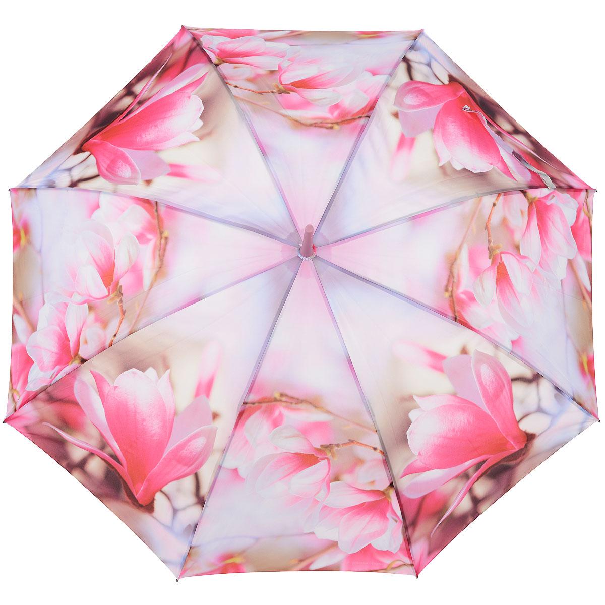Зонт-трость женский Zest, цвет: розовый. 216255-38П250071001-22Женский полуавтоматический зонт-трость Zest даже в ненастную погоду позволит вам оставаться стильной и элегантной. Каркас зонта состоит из 8 спиц из фибергласса и прочного стержня из пластика. Специальная система Windproof защищает его от поломок во время сильных порывов ветра. Купол зонта выполнен из прочного полиэстера с водоотталкивающей пропиткой и оформлен изображением цветов. Используемые высококачественные красители, а также покрытие Teflon обеспечивают длительное сохранение свойств ткани купола. Рукоятка закругленной формы, разработанная с учетом требований эргономики, выполнена из приятного на ощупь прорезиненного пластика розового цвета. Зонт имеет полуавтоматический механизм сложения: купол открывается нажатием на кнопку и закрывается вручную до характерного щелчка.Такой зонт не только надежно защитит вас от дождя, но и станет стильным аксессуаром, который идеально подчеркнет ваш неповторимый образ. Характеристики:Материал: металл, полиэстер, пластик. Цвет: розовый. Длина стержня зонта: 79 см. Количество спиц: 8 шт. Артикул:216255-38.