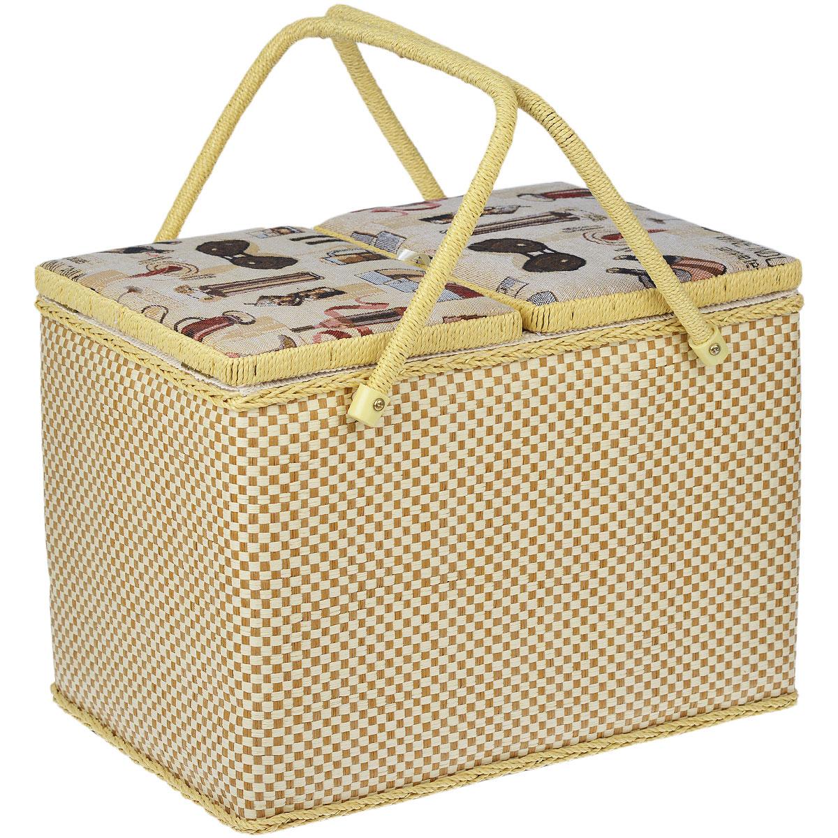 Шкатулка для рукоделия Винная лавка10850/1W GOLD IVORYНабор состоит из двух прямоугольных шкатулок для рукоделия. Изделия обтянуты текстилем с красивой цветочной вышивкой. Шкатулки закрываются хлястиком на липучку. Внутри большой шкатулки содержится кармашек на резинке, подушечка для иголок и булавок, а также съемный пластиковый лоток с 8 ячейками разного размера. Изделия оснащены удобными плетеными ручками. Изящные шкатулки с ярким дизайном предназначены для хранения мелочей, принадлежностей для шитья и творчества и других аксессуаров. Они красиво оформят интерьер комнаты и помогут хранить ваши вещи в порядке. Прекрасный подарок для рукодельницы.