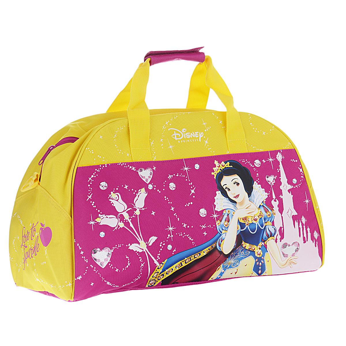 Disney Princess Сумка спортивная детская цвет розовый желтый72523WDДетская спортивная сумка Princess придется по вкусу любой активной девочке, посещающей спортзал или спортивные секции.Сумка изготовлена из высококачественного износостойкого полиэстера и оформлена оригинальным цветочным принтом и изображением Белоснежки в роскошном наряде принцессы. Сумка состоит из одного вместительного отделения, закрывается на застежку-молнию. Внутри располагается небольшой накладной карман на застежке-молнии. Сумка имеет съемное твердое дно, которое при необходимости можно извлечь.Сумка имеет удобные ручки для переноски, скрепляющиеся хлястиком на липучке, а также съемный плечевой ремень, регулирующийся по длине. Дно сумки оснащено пластиковыми ножками, обеспечивающими необходимую устойчивость.Спортивная сумка - незаменимый аксессуар для юной спортсменки, который сочетает в себе практичность и модный дизайн. Красочная сумка сделает посещение спортивных секций не только приятным, но и модным занятием.