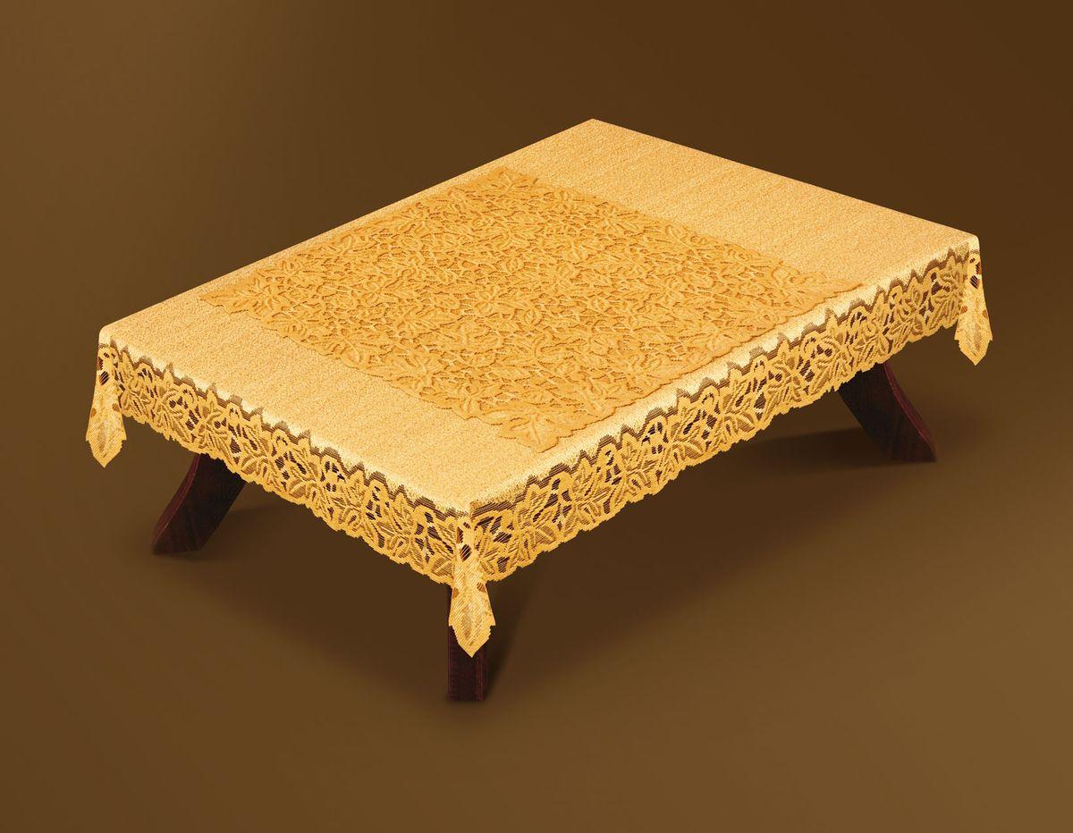 Скатерть Haft Gold Line, с накладкой, прямоугольная, цвет: бронзовый, 120x 160 см. 200510-120AMC-00070Великолепная прямоугольная скатерть Haft Gold Line, выполненная из полиэстера, органично впишется в интерьер любого помещения, а оригинальный дизайн удовлетворит даже самый изысканный вкус. Скатерть изготовлена из сетчатого материала с ажурным рисунком по краям. В комплекте квадратная накладка, декорированная ажурным рисунком. Скатерть Haft Gold Line создаст праздничное настроение и станет прекрасным дополнением интерьера гостиной, кухни или столовой. Размер накладки: 70 см х 70 см.