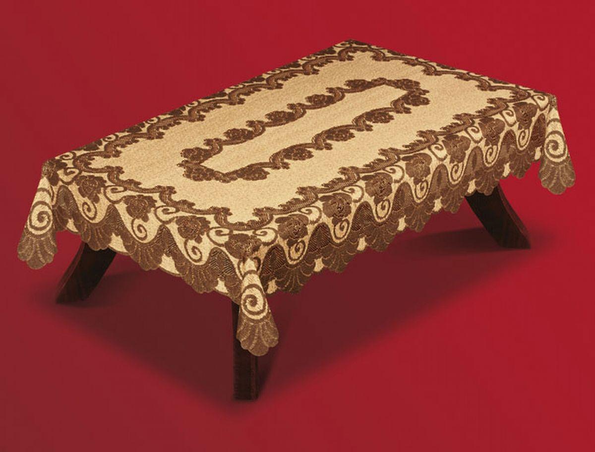 Скатерть Haft, прямоугольная, цвет: кофейный, коричневый, 150x 300 см. 201550-15006033-102Великолепная прямоугольная скатерть Haft, выполненная из полиэстера, органично впишется в интерьер любого помещения, а оригинальный дизайн удовлетворит даже самый изысканный вкус. Скатерть изготовлена из сетчатого материала с ажурным цветочным рисунком. Края скатерти ажурные.Скатерть Haft создаст праздничное настроение и станет прекрасным дополнением интерьера гостиной, кухни или столовой.