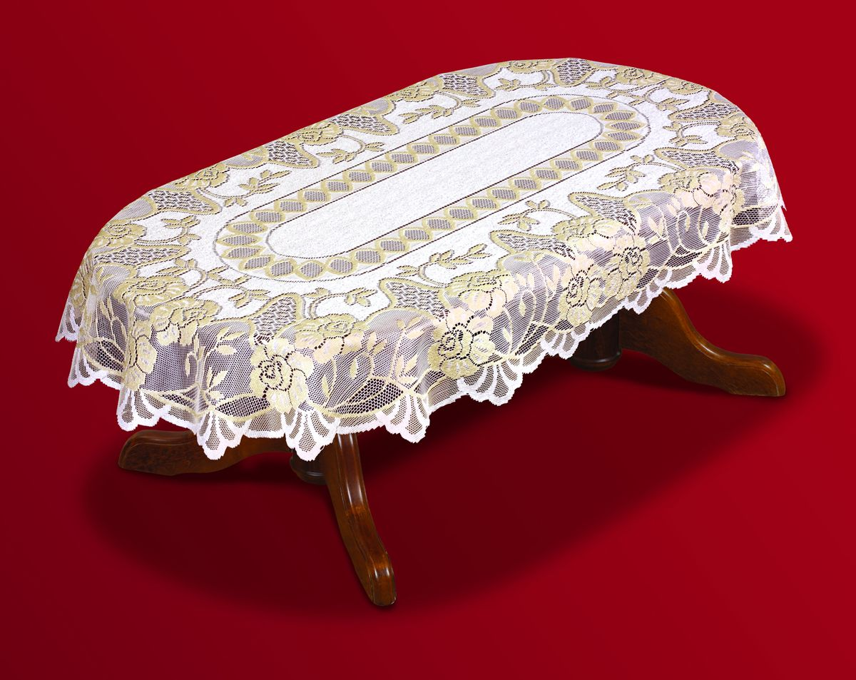 Скатерть Haft, овальная, цвет: кремовый, золотистый, 120x 160 см. 202601-12068108Великолепная овальная скатерть Haft, выполненная из полиэстера, органично впишется в интерьер любого помещения, а оригинальный дизайн удовлетворит даже самый изысканный вкус. Скатерть изготовлена из сетчатого материала с ажурным рисунком. Края скатерти закруглены.Скатерть Haft создаст праздничное настроение и станет прекрасным дополнением интерьера гостиной, кухни или столовой.