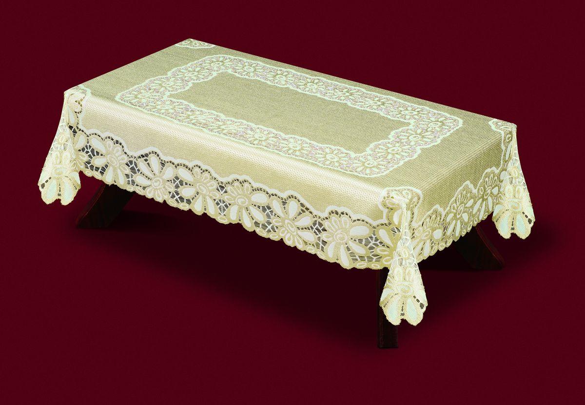 Скатерть Haft, прямоугольная, цвет: кремовый, золотистый, 120x 160 см. 33250-120206843-120 бежевыйВеликолепная прямоугольная скатерть Haft, выполненная из полиэстера, органично впишется в интерьер любого помещения, а оригинальный дизайн удовлетворит даже самый изысканный вкус. Скатерть изготовлена из сетчатого материала с ажурным цветочным рисунком. Края скатерти ажурные.Скатерть Haft создаст праздничное настроение и станет прекрасным дополнением интерьера гостиной, кухни или столовой.