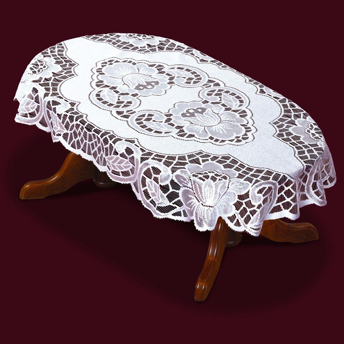 Скатерть Haft, овальная, цвет: белый, 250x 140 см. 38851-140VT-1520(SR)Великолепная овальная скатерть Haft, выполненная из полиэстера, органично впишется в интерьер любого помещения, а оригинальный дизайн удовлетворит даже самый изысканный вкус. Скатерть изготовлена из сетчатого материала с ажурным цветочным рисунком. Края скатерти закруглены. Скатерть Haft создаст праздничное настроение и станет прекрасным дополнением интерьера гостиной, кухни или столовой.