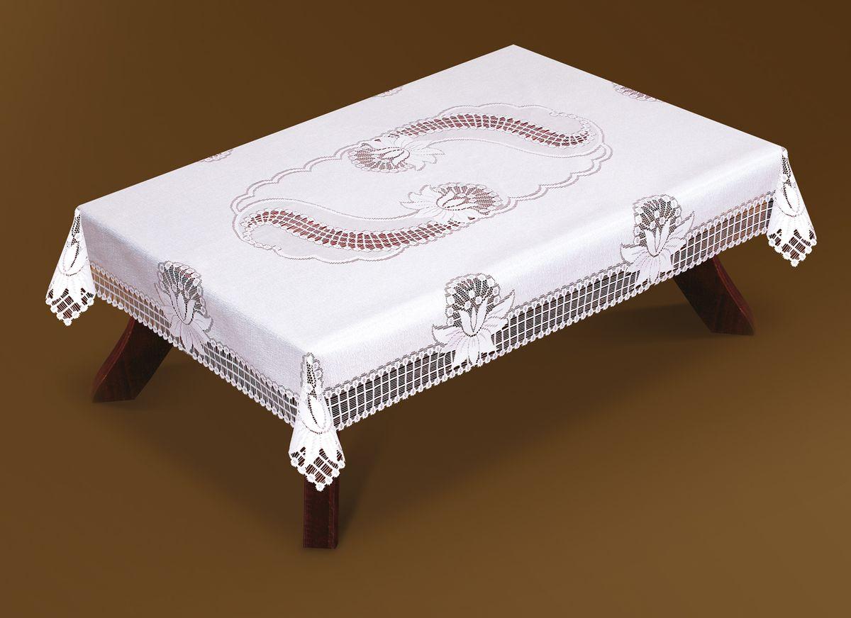 Скатерть Haft, прямоугольная, цвет: белый, 130 x 180 см. 46080-13033163-160Великолепная прямоугольная скатерть Haft, выполненная из полиэстера, органично впишется в интерьер любого помещения, а оригинальный дизайн удовлетворит даже самый изысканный вкус. Скатерть изготовлена из сетчатого материала с ажурным цветочным рисунком. Скатерть Haft создаст праздничное настроение и станет прекрасным дополнением интерьера гостиной, кухни или столовой.