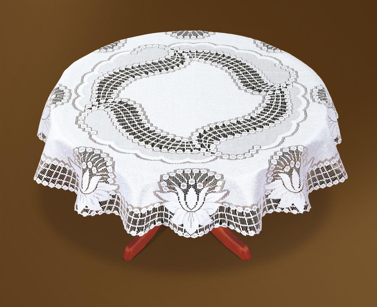 Скатерть Haft, цвет: белый, диаметр 160 см. 46083-1601004900000360Великолепная круглая скатерть Haft, выполненная из полиэстера, органично впишется в интерьер любого помещения, а оригинальный дизайн удовлетворит даже самый изысканный вкус. Скатерть изготовлена из сетчатого материала с ажурным цветочным рисунком. Скатерть Haft создаст праздничное настроение и станет прекрасным дополнением интерьера гостиной, кухни или столовой.Диаметр скатерти: 160 см.