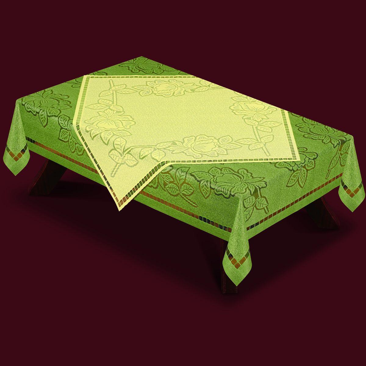 Скатерть Haft, с накладкой, прямоугольная, цвет: оливковый, молочный, 160x 120 см. 46370-12046370-120Великолепная прямоугольная скатерть Haft, выполненная из полиэстера, органично впишется в интерьер любого помещения, а оригинальный дизайн удовлетворит даже самый изысканный вкус. Скатерть изготовлена из сетчатого материала с ажурным цветочным рисунком. В комплекте квадратная накладка, декорированная ажурным цветочным рисунком. Комплект Haft создаст праздничное настроение и станет прекрасным дополнением интерьера гостиной, кухни или столовой. Размер скатерти: 160 см х 120 см.Размер накладки: 80 см х 80 см.
