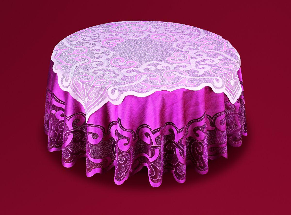 Скатерть Haft, с накладкой, цвет: бордовый, розовый, диаметр 200 см. 50373-200221074/120Великолепная круглая скатерть Haft, выполненная из полиэстера, органично впишется в интерьер любого помещения, а оригинальный дизайн удовлетворит даже самый изысканный вкус. Скатерть изготовлена из плотного материала с сетчатым ажурным цветочным рисунком по краям. В комплекте квадратная накладка, декорированная ажурным цветочным рисунком. Комплект Haft создаст праздничное настроение и станет прекрасным дополнением интерьера гостиной, кухни или столовой. Диаметр скатерти: 200 см.Размер накладки: 100 см х 100 см.