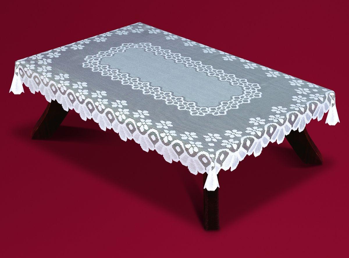 Скатерть Haft, прямоугольная, цвет: белый, 140x 250 см. 54360-14033440-100Великолепная прямоугольная скатерть Haft, выполненная из полиэстера, органично впишется в интерьер любого помещения, а оригинальный дизайн удовлетворит даже самый изысканный вкус. Скатерть изготовлена из сетчатого материала с ажурным цветочным рисунком. Края скатерти ажурные.Скатерть Haft создаст праздничное настроение и станет прекрасным дополнением интерьера гостиной, кухни или столовой.