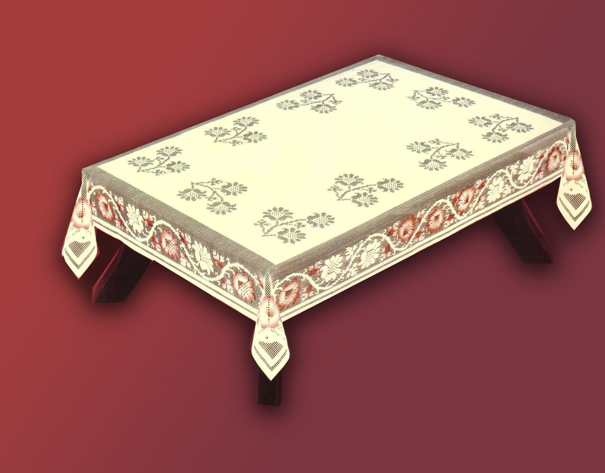 Скатерть Haft, прямоугольная, цвет: кремовый, бордовый, 120x 160 см. 54370-12046080-100Великолепная прямоугольная скатерть Haft, выполненная из полиэстера, органично впишется в интерьер любого помещения, а оригинальный дизайн удовлетворит даже самый изысканный вкус. Скатерть изготовлена из сетчатого материала с ажурным цветочным орнаментом. Скатерть Haft создаст праздничное настроение и станет прекрасным дополнением интерьера гостиной, кухни или столовой.