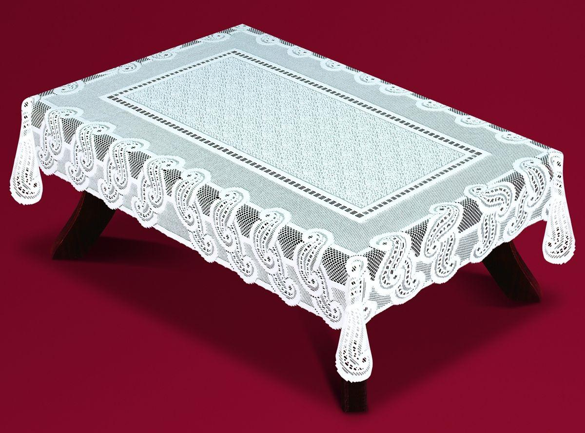Скатерть Haft, прямоугольная, цвет: белый, 100x 150 см. 54460-10033440-120Великолепная прямоугольная скатерть Haft, выполненная из полиэстера, органично впишется в интерьер любого помещения, а оригинальный дизайн удовлетворит даже самый изысканный вкус. Скатерть изготовлена из сетчатого материала с ажурным рисунком. Скатерть Haft создаст праздничное настроение и станет прекрасным дополнением интерьера гостиной, кухни или столовой.