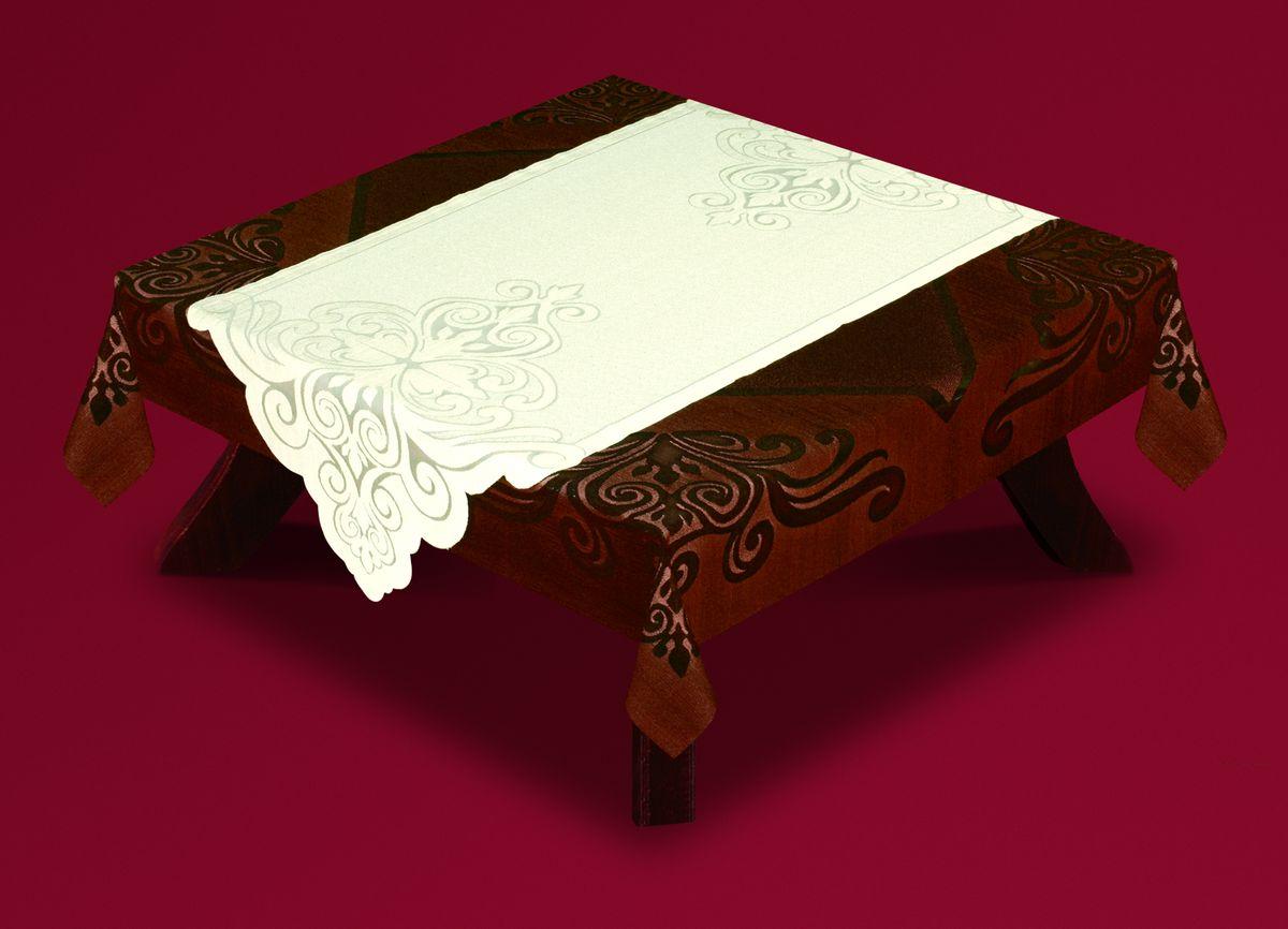 Скатерть Haft, с накладкой, квадратная, цвет: коричневый, молочный, 140x 140 см. 54722-14021395598Великолепная квадратная скатерть Haft, выполненная из полиэстера, органично впишется в интерьер любого помещения, а оригинальный дизайн удовлетворит даже самый изысканный вкус. Скатерть изготовлена из сетчатого материала с ажурным цветочным рисунком по краям. В комплекте прямоугольная накладка, декорированная ажурным цветочным рисунком. Комплект Haft создаст праздничное настроение и станет прекрасным дополнением интерьера гостиной, кухни или столовой. Размер скатерти: 140 см х 140 см.Размер накладки: 60 см х 140 см.
