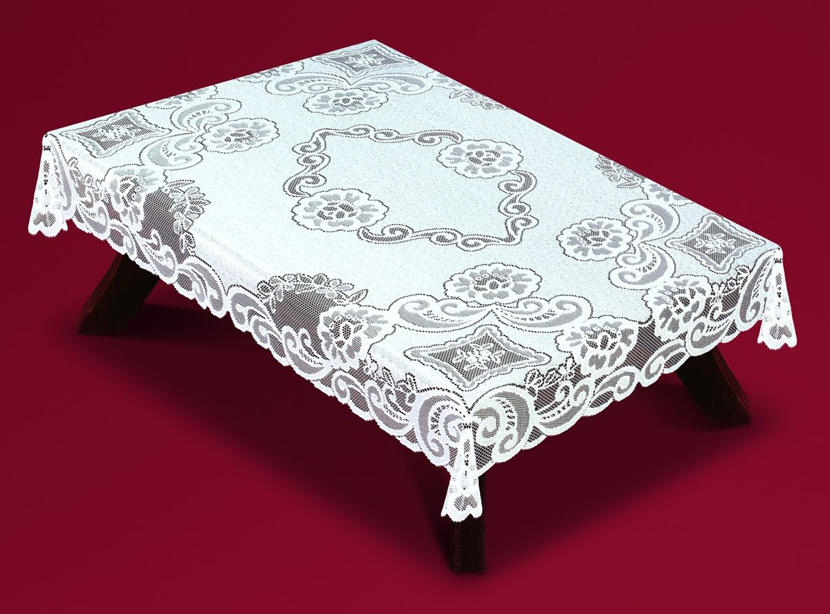 Скатерть Haft, прямоугольная, цвет: белый, 120x 160 см. 54920-12054911-110Великолепная прямоугольная скатерть Haft, выполненная из полиэстера, органично впишется в интерьер любого помещения, а оригинальный дизайн удовлетворит даже самый изысканный вкус. Скатерть изготовлена из сетчатого материала с ажурным рисунком.Скатерть Haft создаст праздничное настроение и станет прекрасным дополнением интерьера гостиной, кухни или столовой.