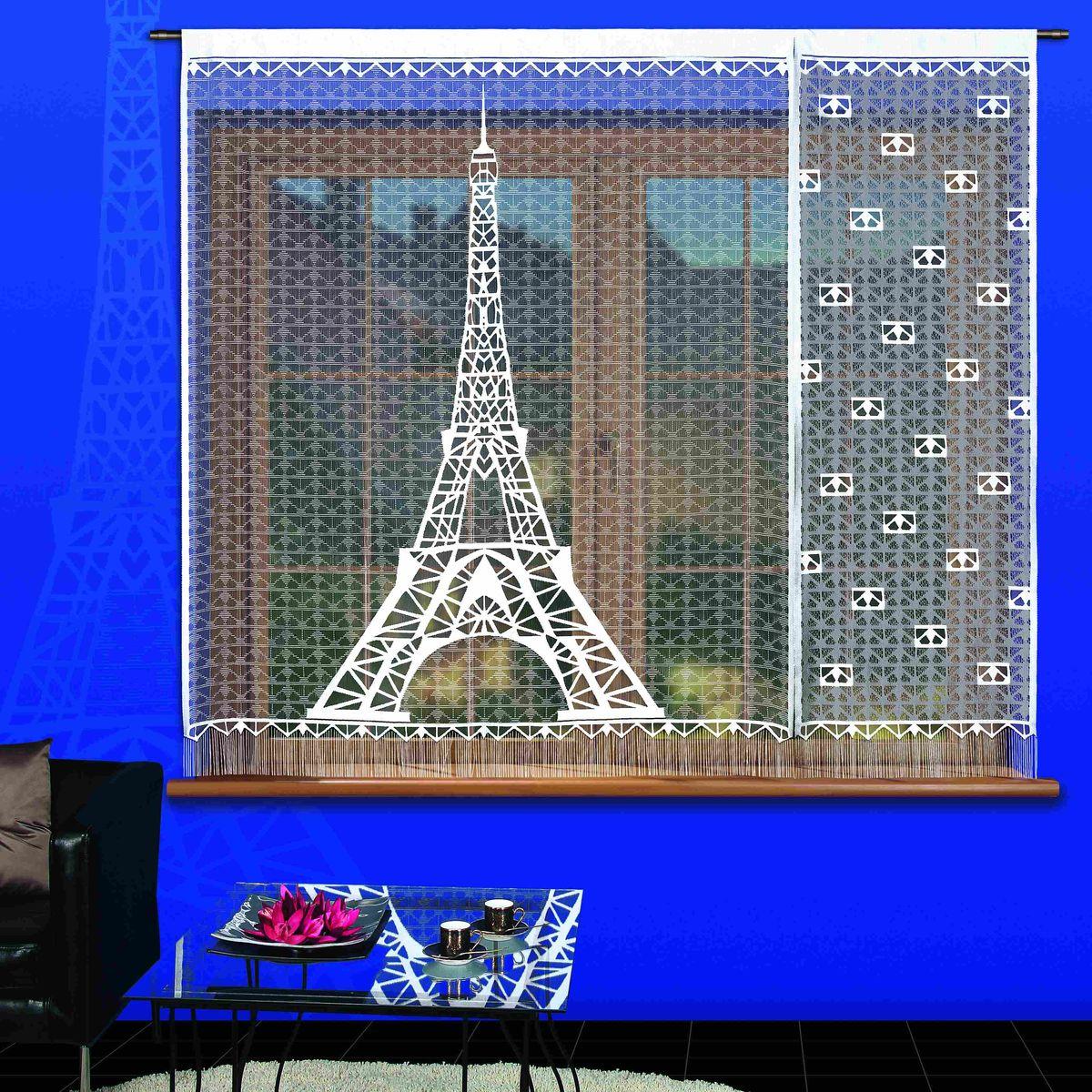 Гардина-панно Wisan Paryz, цвет: белый, черный, высота 180 см, 2 штSVC-300Воздушная гардина-панно Wisan Paryz, изготовленная из полиэстера, станет великолепным украшением любого окна. Изделие состоит из двух частей. Оригинальный принт в виде Эйфелевой башни и приятная цветовая гамма привлекут к себе внимание и органично впишутся в интерьер комнаты. Снизу гардина оформлена бахромой. Верхняя часть гардины не оснащена креплениями. Размер частей панно: 150 см х 180 см, 60 см х 180 см.