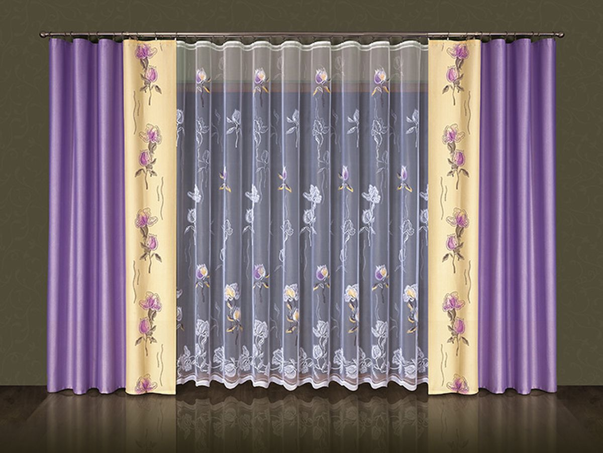 Комплект штор Wisan Amelia, на ленте, цвет: сиреневый, бежевый, белый, высота 250 смSATURN CANCARDКомплект штор Wisan Amelia выполненный из полиэстера, великолепно украсит любое окно. В комплект входят 2 шторы и тюль. Цветочный узор придает комплекту особый стиль и шарм. Тонкое жаккардовое плетение, нежная цветовая гамма и роскошное исполнение - все это делает шторы Wisan Amelia замечательным дополнением интерьера помещения.Комплект оснащен шторной лентой для красивой сборки. В комплект входит: Штора - 2 шт. Размер (ШхВ): 145 см х 250 см. Тюль - 1 шт. Размер (ШхВ): 500 см х 250 см.Фирма Wisan на польском рынке существует уже более пятидесяти лет и является одной из лучших польских фабрик по производству штор и тканей. Ассортимент фирмы представлен готовыми комплектами штор для гостиной, детской, кухни, а также текстилем для кухни (скатерти, салфетки, дорожки, кухонные занавески). Модельный ряд отличает оригинальный дизайн, высокое качество. Ассортимент продукции постоянно пополняется.