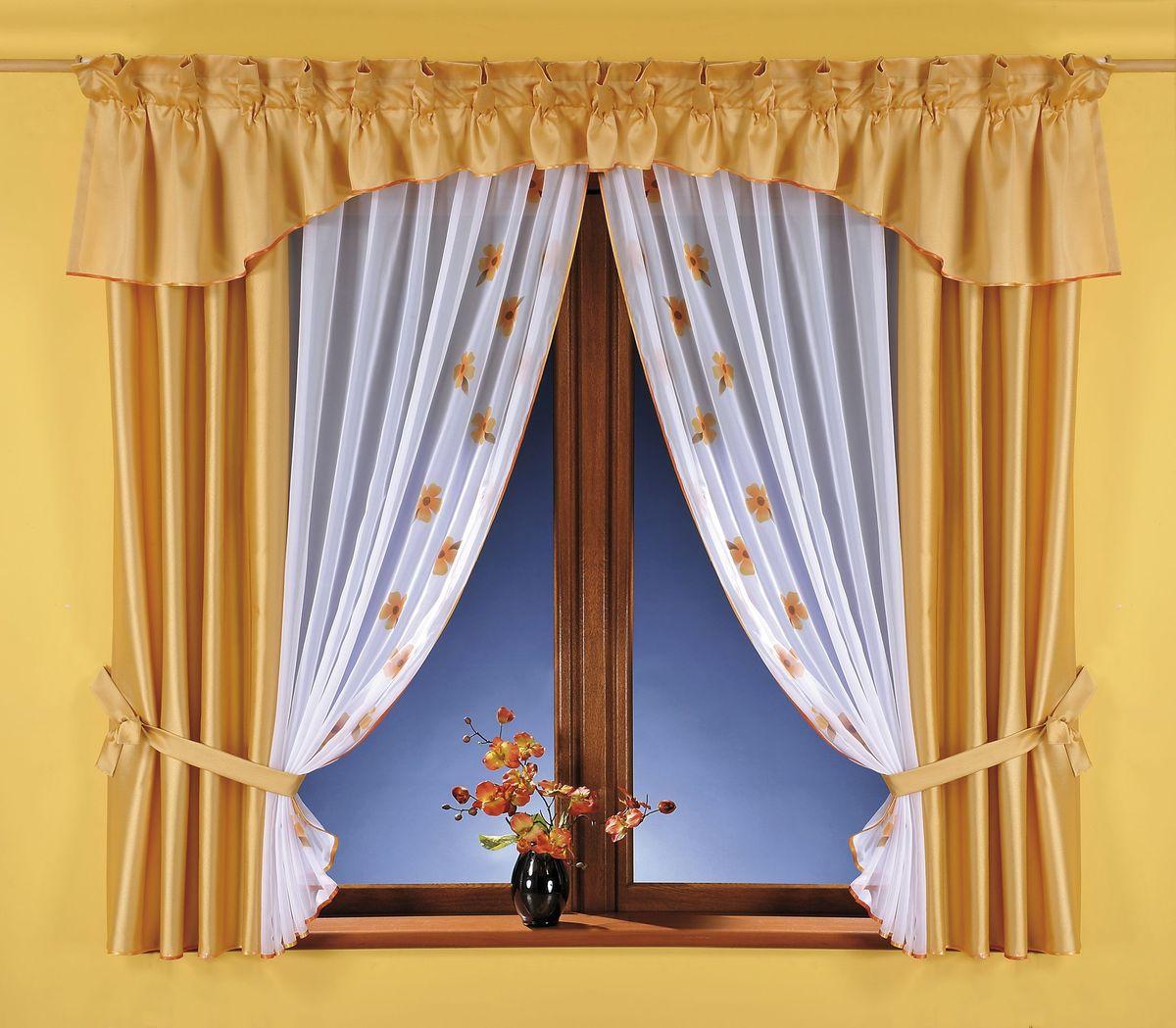 Комплект штор Wisan Swietlana, на ленте, цвет: золотистый, белый, высота 180 смS03301004Комплект штор Wisan Swietlana выполненный из полиэстера, великолепно украсит любое окно. Комплект состоит из 2 штор, тюля, ламбрекена и 2 подхватов. Тюль выполнен из органзы и украшен цветочным принтом, шторы изготовлены из плотного полиэстера. Оригинальный дизайн и контрастная цветовая гамма привлекут к себе внимание и органично впишутся в интерьер комнаты. Все предметы комплекта оснащены шторной лентой для красивой драпировки. В комплект входит: Штора - 2 шт. Размер (ШхВ): 80 см х 180 см. Тюль - 1 шт. Размер (ШхВ): 160 см х 180 см. Ламбрекен - 1 шт. Размер (ШхВ): 500 см х 50 см.Подхваты - 2 шт. Фирма Wisan на польском рынке существует уже более пятидесяти лет и является одной из лучших польских фабрик по производству штор и тканей. Ассортимент фирмы представлен готовыми комплектами штор для гостиной, детской, кухни, а также текстилем для кухни (скатерти, салфетки, дорожки, кухонные занавески). Модельный ряд отличает оригинальный дизайн, высокое качество. Ассортимент продукции постоянно пополняется.